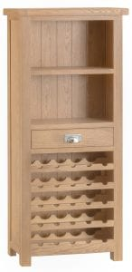 Limed oak wine rack with shelving and drawer