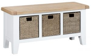 Otto Large Hall Bench (White). £195.00. Perfect on its own or in tandem with the Otto Large Hall Bench Top, this piece combines basket storage with an oak seat, ideal for putting your shoes on, as well as keeping them tidy! Measurements: W 100 cm D 35 cm H 50 cm.