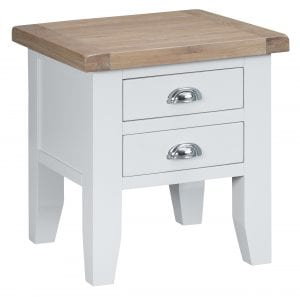 With 2 chrome cup handled drawers, this table will be both an attractive and practical addition to your room. Finished in white with natural oak top. Measurements: W 50 cm D 50 cm H 55 cm.