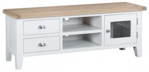 A combination of drawers, open shelved compartments and single-door cupboard space make this an extremely versatile option for your entertainment equipment requirements. Finished in white with natural oak top. Measurements: W 150 cm D 40 cm H 55 cm.
