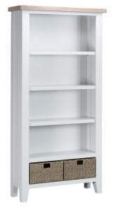 With 5 fixed shelves and 2 baskets, this white painted/natural oak-topped bookcase offers great storage. Measurements: W 90 cm D 30 cm H 180 cm.
