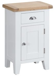 Otto Small Cupboard (White). £185. A compact but useful piece with one drawer and single door cupboard, with natural oak top and smart chrome handles. Measurements: W 50 cm D 35 cm H 80 cm.