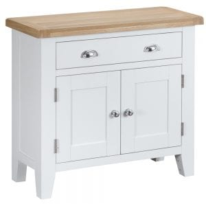 Otto Small Sideboard (White). £279. Featuring a single drawer and 2 doors, this smart oak-topped sideboard can also form the base of a dresser when combined with the Otto Small Dresser Top. Measurements for the sideboard are: W 85 cm D 35 cm H 80 cm.