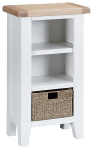 Otto Narrow Bookcase. £179.00. Finished in white with natural oak top, this bookcase has 3 fixed shelves and a basket for discreet storage. Measurements: W 50 cm D 30 cm H 90 cm.