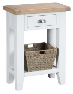 Telephone table finished in white with oak top. A single drawer with chrome cup handle and basket on the shelf offer extra storage options. Measurements: W 55 cm D 30 cm H 75 cm.
