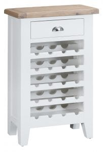 Compact and practical wine cabinet finished in white with an oak top. Holds up to 20 bottles and features a handy drawer for extra storage. Measurements: W 60 cm D 30 cm H 96cm.